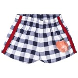 The Animals Observatory Navy Blue Check Peach Spider Kids Shorts