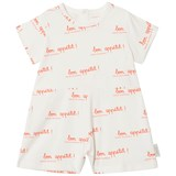 Tinycottons Off-White and Carmine Bon Appétit Short Sleeve Relaxed One Piece