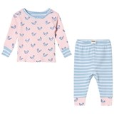 Hatley Pink And Blue Fluttering Birds Long Sleeve Mini Pajama Set