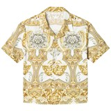 Young Versace White and Gold Baroque Print Shirt