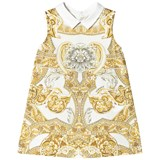 Young Versace White and Gold Baroque Print Collar Infants Dress