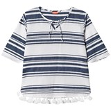 Sunuva White and Navy Stripe Girls Kurta Dress