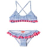 Sunuva Blue and White Stripe Girls Carnival Frill Bikini