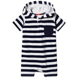 Sunuva Navy and White Stripe Baby Boy Towelling Onesie