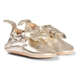 Easy Peasy Gold Metallic Bow Blumoo Leather Crib Shoes