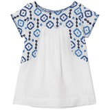 Velveteen White and Blue Embroidered Detail Sofia Dress