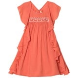 Velveteen Coral and Amber Smocked Dress with Frill Sleeves