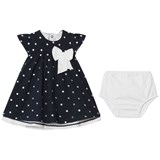 Emile et Rose Navy Embroidered Spot Jersey Dress with Bow