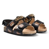 Moschino Black Bear and Gold Logo Leather Sandals