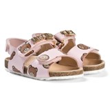 Moschino Pink Bear and Gold Logo Leather Sandals