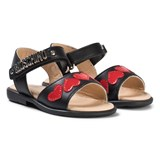 Moschino Black Heart and Logo Leather Sandals