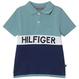 Tommy Hilfiger Navy and Blue Branded Polo