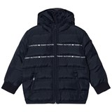 Tommy Hilfiger Navy Branded Hooded Puffer Coat