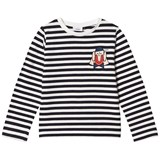 Wynken Navy and White Stripe Clown Embroidered Long Sleeve T-Shirt