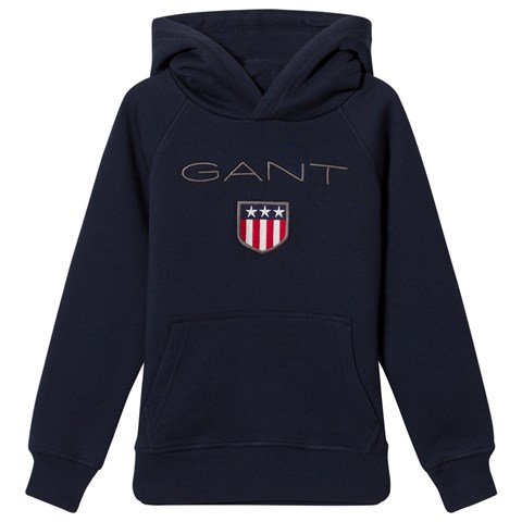 Gant Navy Shield Logo Embroidered Hoodie