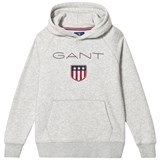 Gant Grey Marl Shield Logo Embroidered Hoodie