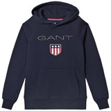 Gant Navy Shield Logo Embroidered Hoody