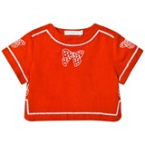 Stella McCartney Kids Red Julienne Girl Blouse with Bow Embroidery