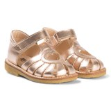 Angulus Rose Gold Heart Cut Out Sandals