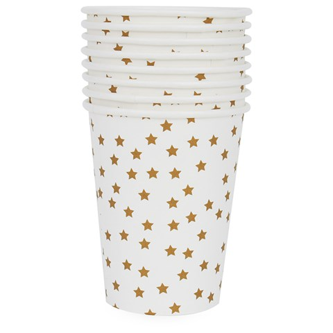 My Little Day Pack of 8 Gold Star Print Paper Cups