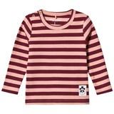 Mini Rodini Pink Striped Rib Long-Sleeved Tee