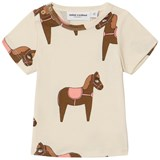 Mini Rodini Beige and Pink Horse T-Shirt