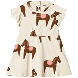Mini Rodini Off-White Pink Detail Horse Dress