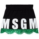 MSGM Black Lace Hem Logo Skirt