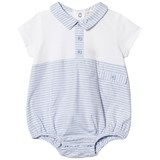 Mintini Baby White and Blue Romper