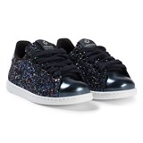 Victoria Black Lace Up Glitter Trainers