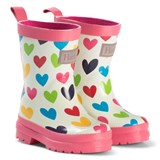 Hatley Cream Rainbow Hearts Rain Boots