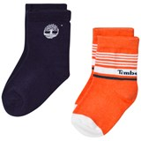 Timberland Kids 2 Pack of Orange and Navy Branded Socks