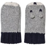 Noa Noa Miniature Grey Melange and Navy Mittens