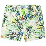 Mayoral Green Fish and Coral Print Swim Shorts