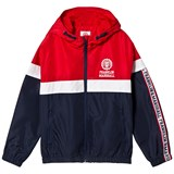 Franklin & Marshall Navy, Red and White Colour Block Print Track Jacket