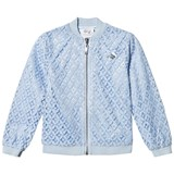 Le Chic Pale Blue Crochet Lace Bomber Jacket with Glitter Trims