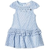 Le Chic Blue Crochet Lace Party Dress with Jewel Detail