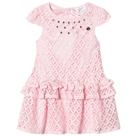 Le Chic Pink Crochet Lace Party Dress with Jewel Detail