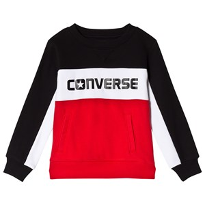Converse Red and Black Colour Block Crew Sweatshirt 13-15 years