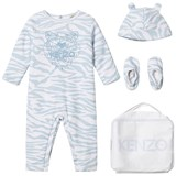Kenzo Kids Blue Tiger Print Padded Babygrow, Hat and Booties in Gift Bag