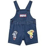 Kenzo Kids Blue Denim Dungarees with Badges and Branding