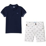 Mayoral Navy Polo with White Car Print Shorts