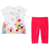 Mayoral White Flower Garden Diamante Tee and Leggings Set