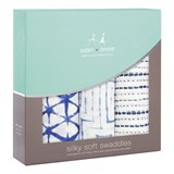 Aden + Anais Pack of 3 Indigo Silky Soft Swaddle