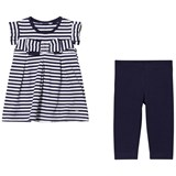 Mayoral Navy and Diamante Bow Stripe Leggings Set