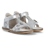 Noël White and Silver Star and Diamante Mini Stebi Velcro Sandals