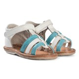 Noël White and Aqua Leather Velcro Mini Servi Sandals