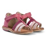 Noël Pink Strappy Leather Velcro Mini Servi Sandals