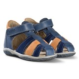 Noël Blue, Navy and Tan Leather Mini Tin Closed Toe Sandals