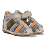 Noël Grey, Blue and Tan Leather Mini Tin Closed Toe Sandals